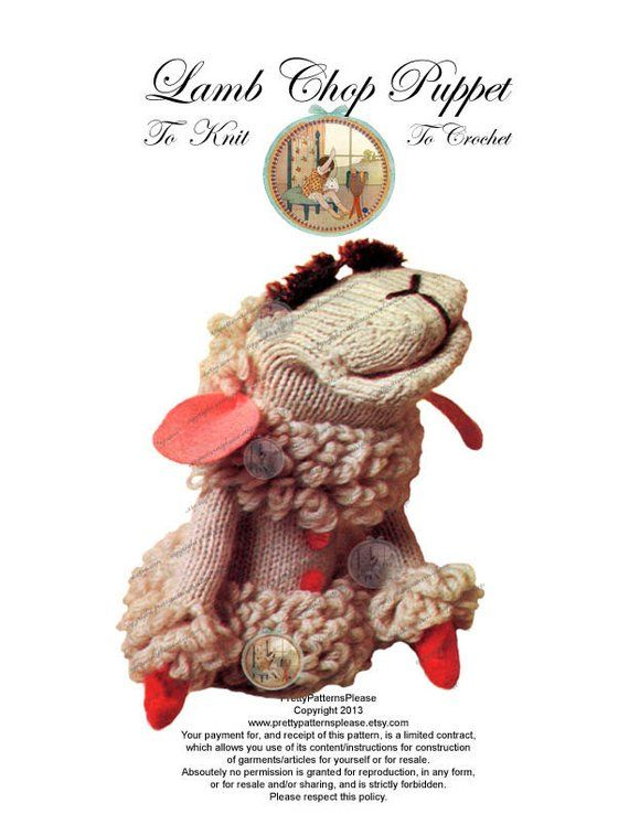 Lamb Chop Puppet Pattern to Knit or Crochet - From Vintage ...