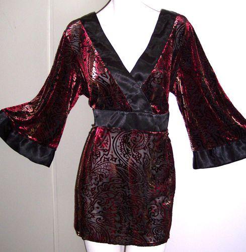 Half Moon Bay Top 3X Stretch VELVET BURNOUT Tunic Ties In Back Shirt Plus Sz 3X