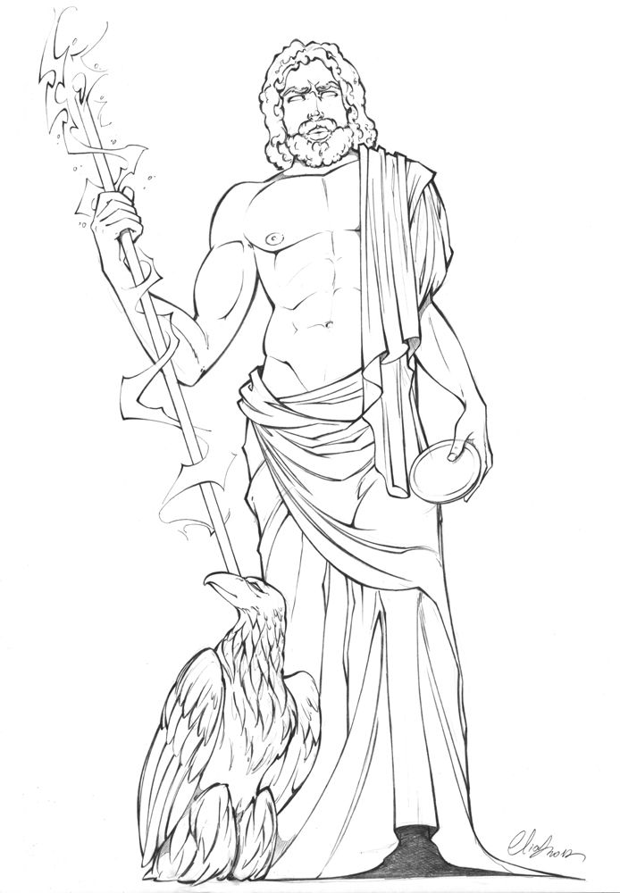 Zeus Easy Drawing : drawing, Nielsen, Crafting, Greek, Gods,, Greek,