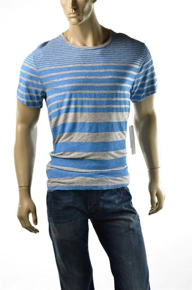 Calvin Klein Jeans Mens T-shirt Blue Striped Cotton CK Crew Tee Shirt NWT Sz S