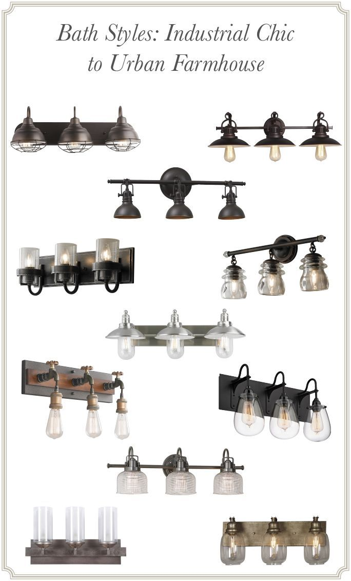 Bath Styles Industrial Chic To Urban Farmhouse  Lighting Amusing Industrial Bathroom Light Fixtures Decorating Inspiration