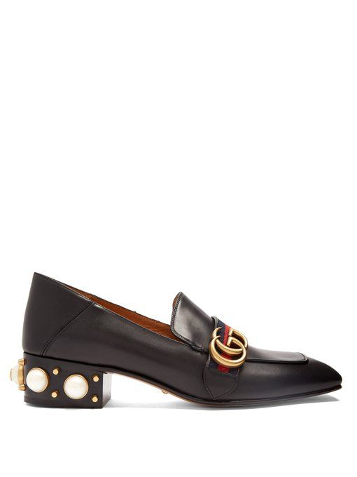 Peyton faux-pearl embellished leather loafers Gucci By4weHqw7S