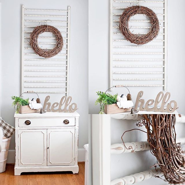Last Saturday I bought this old crib rail from the Habitat Restore for $3 and turned it into a cute piece for my dining room! I am loving it!!  #cribrail #upcycle #sarahssouthernstyle #redo #habitatrestore #farmhouse #style #homedecor #texture #dixiebellechalkpaint #dixiebellepaint #wreath #vintage #pinterest #lagrange #georgia #january2017 #fixerupper #lightandairy #repurpose #reimagine #thrifty