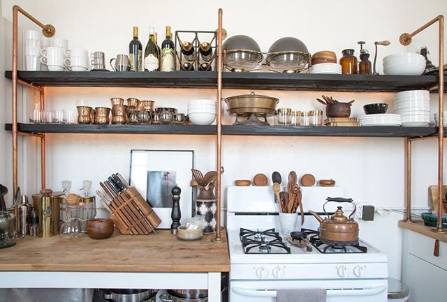 exposed copper plumbing shelves
