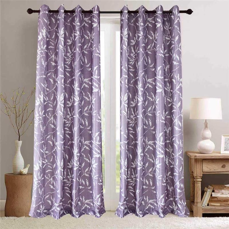 White Leaf Purple Curtain Nordic Simple Semi Blackout Curtain