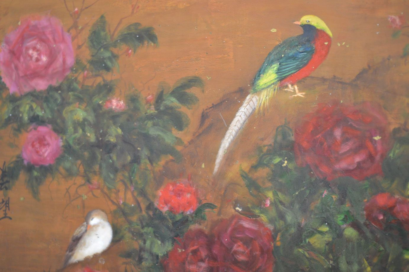 Artwork.  Original oil painting of birds in red.  Robin's Nest Interiors - Louisville Interior Design & Home Accessories Boutique located in the heart of Middletown, KY.