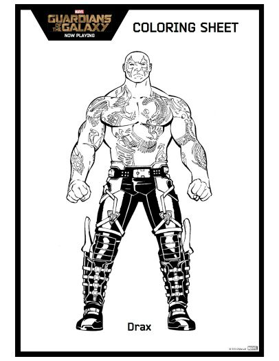 Printable Guardians Of The Galaxy Drax Coloring Sheet