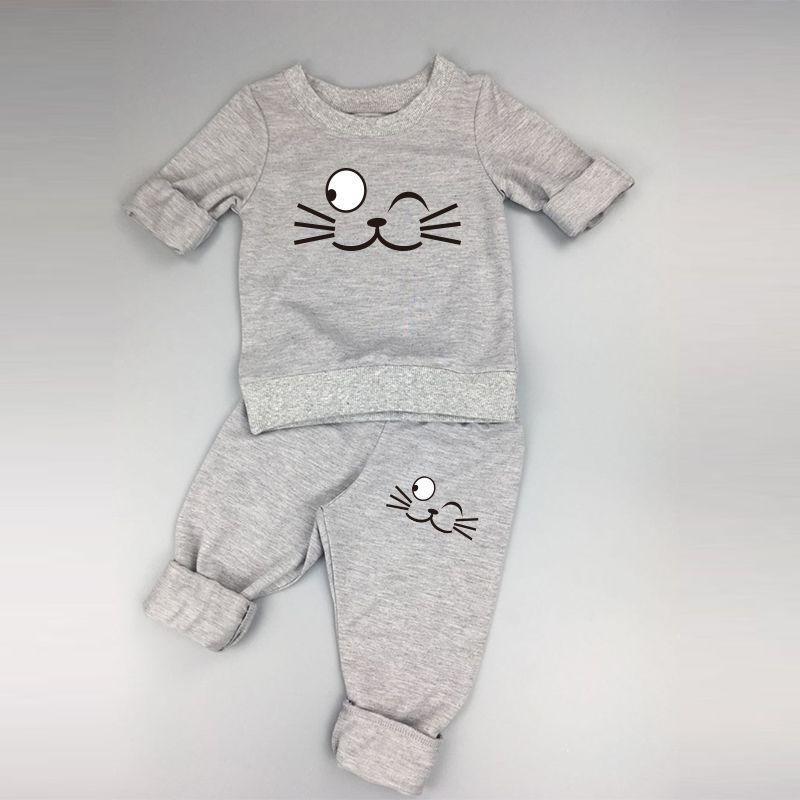 3 색상 아기 의류 봄 가을 아기 소년 소녀 긴 소매 T 셔츠 + 바지 2 개 정장 고양이 어린이 의류