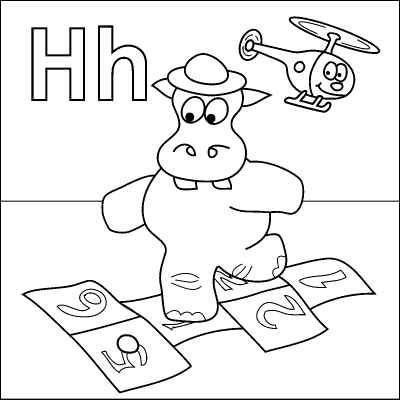 letter h coloring page hippo hopscotch hat helicopter from http