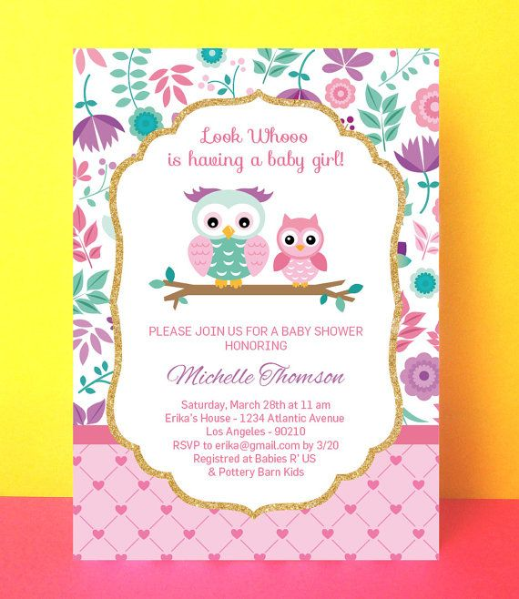 Owl Baby Shower Invitation Girl baby shower por PaperPartyDesign Invitaciones de búho