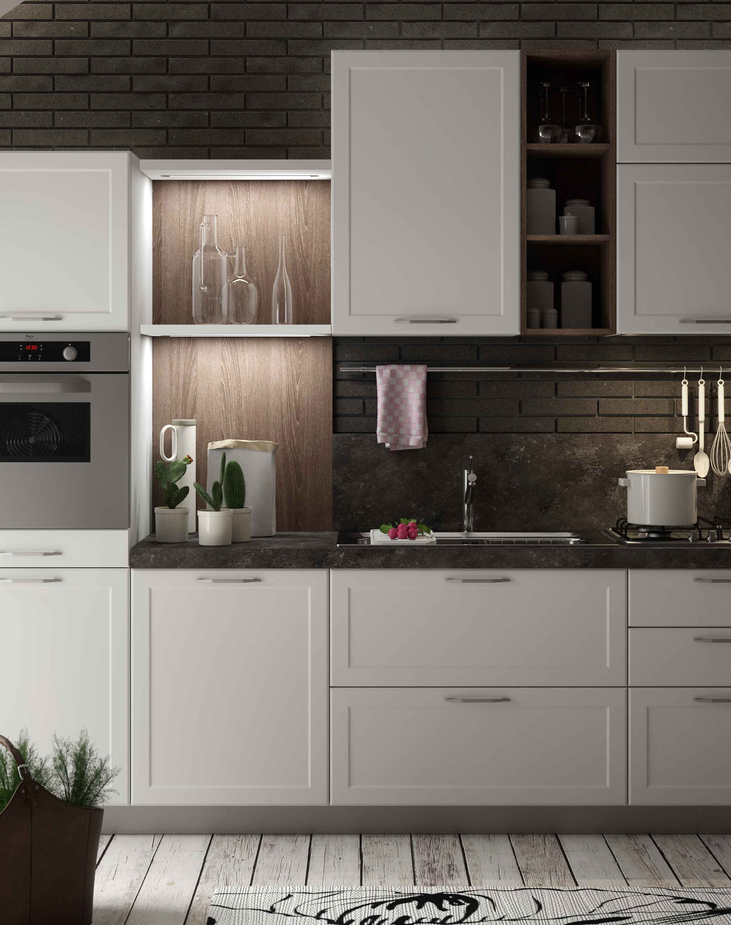 Contempo with shaker door in reflect white and stromboli laminate