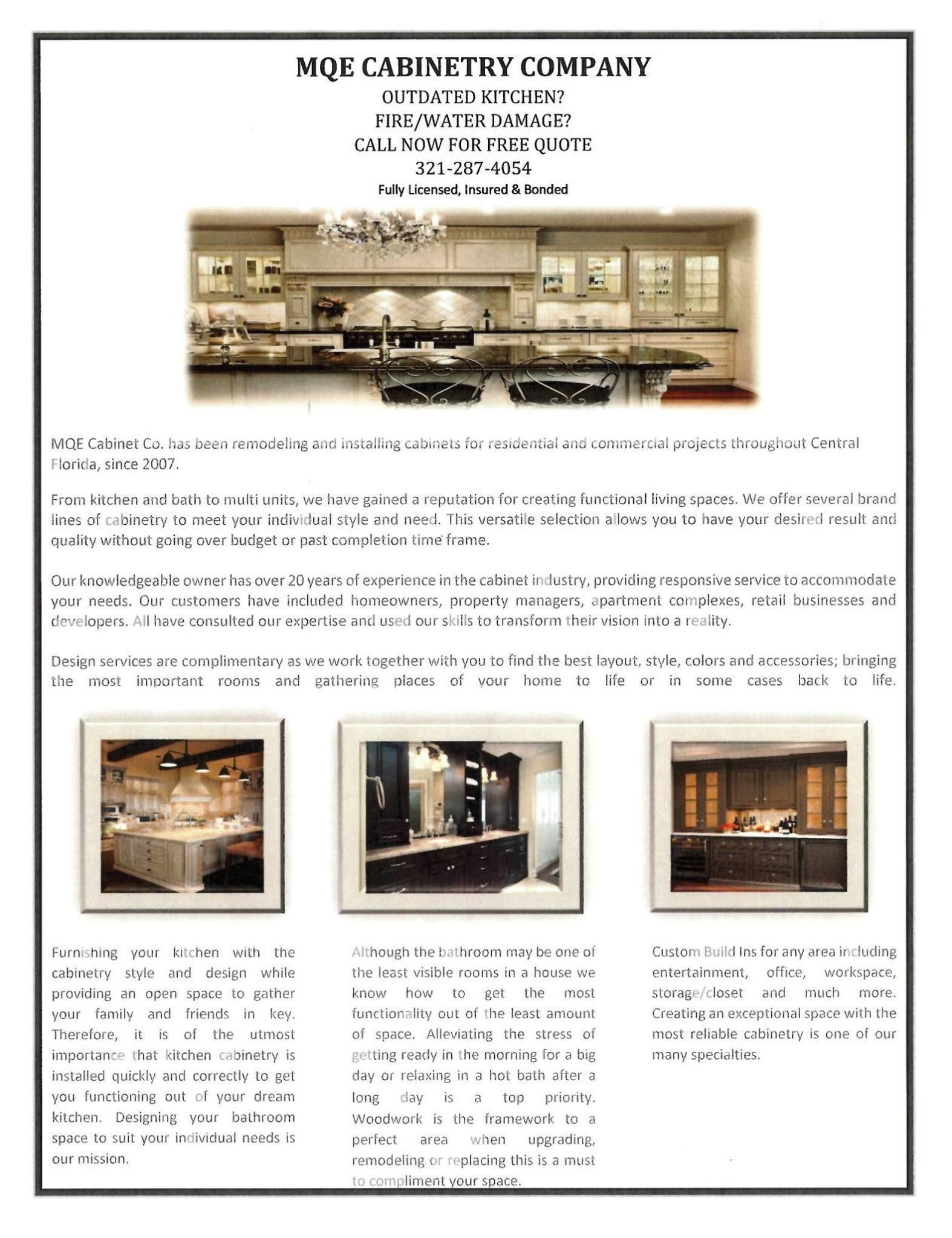 Maurice Jones 321-287-4054 Kitchen, Bathroom Cabinets MQE ...