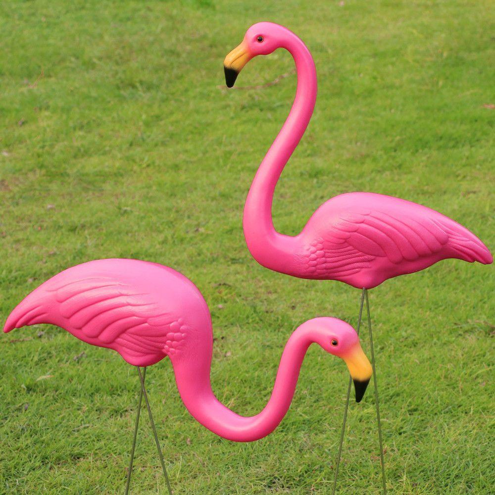 2Pcs Plastic Flamingo Lawn Figurine Garden Party Grassland Ornaments ...