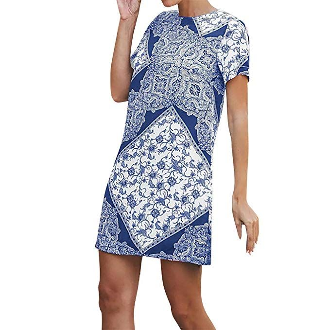 b395828662cd Amazon.com: TIFENNY Womens Fashion Casual Ethnic Printed O-Neck Short Sleeve  Summer Mini Dress Straight Style Fashion Dreses: Clothing