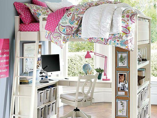 kinderzimmer mit hochbett schreibtisch und regale room. Black Bedroom Furniture Sets. Home Design Ideas