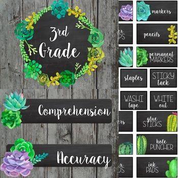 Editable Succulent Farmhouse Chic Classroom Decor More Growing