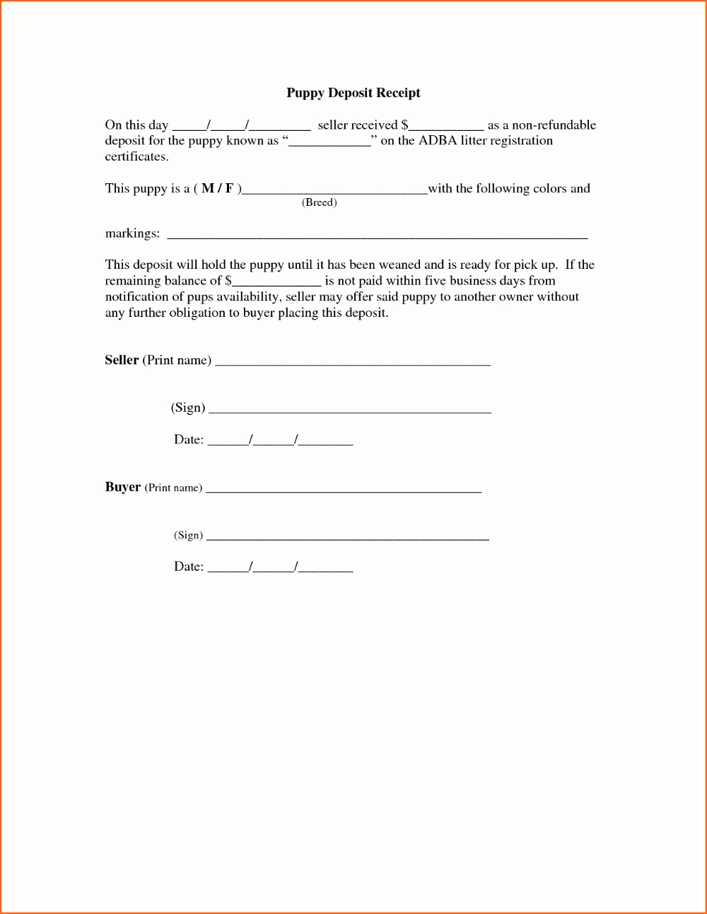 Non Refundable Deposit Agreement Template Contract Template Templates Professional Templates