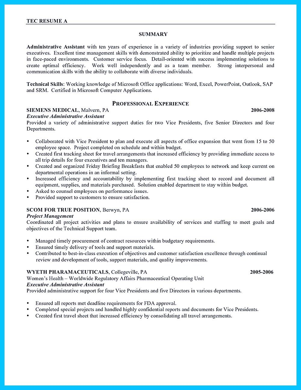 High Quality Entry Level Administrative Assistant Resume Samples