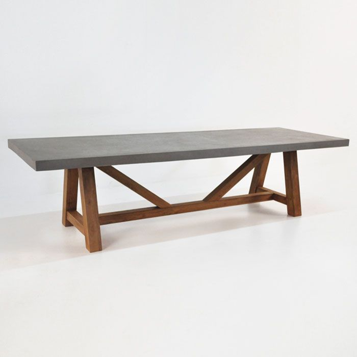 Reclaimed Teak Wood Makes A Bold Statement With Our Raw Concrete Table Top Both Materials Perfectly Suited For The Outdoors Available In Multiple Sizes T