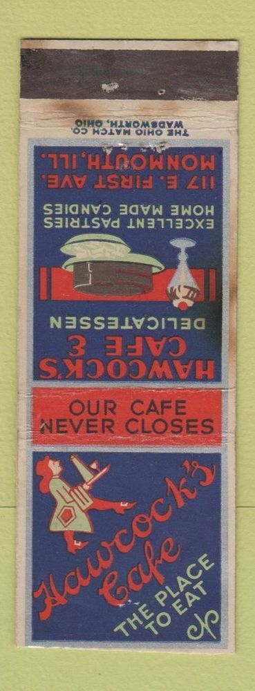 Matchbook Cover - Hawcock's Cafe Monmouth IL Deco TRIMMED