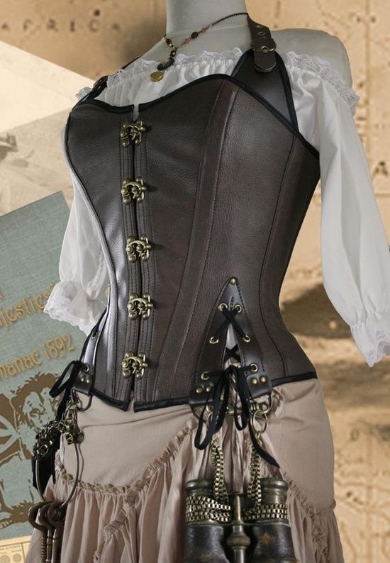 Steampunk engineer-maybe use the corset idea to retain the feminine look while keeping practicality with pants.