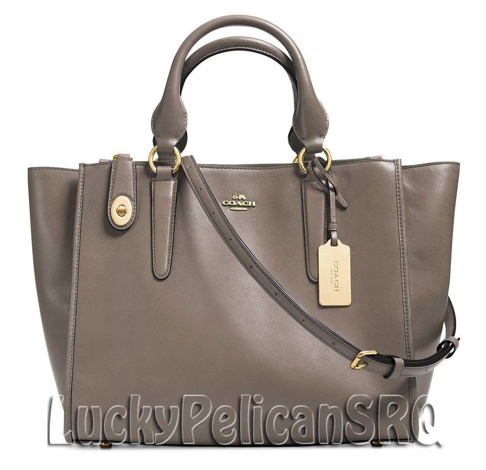 Coach 33545 crosby carryall satchel bag handbag gold/fog grey nwt ...