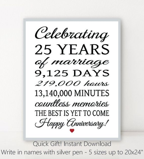 25th Wedding Anniversary Quotes: 25th ANNIVERSARY 25 Years Parents Anniversary Sign DiY