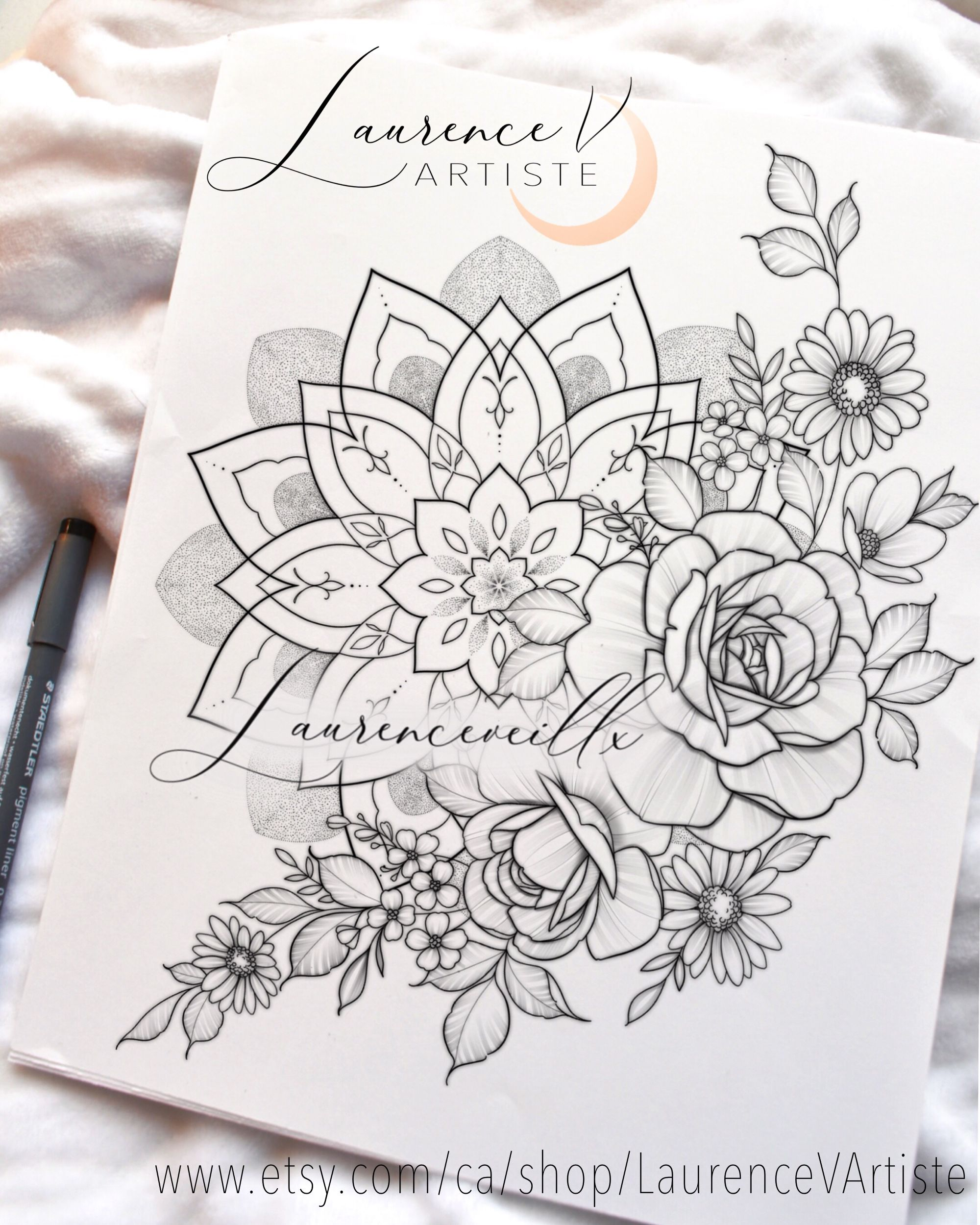 Mandala Rose Wildflower Tattoo Design @laurenceveillx