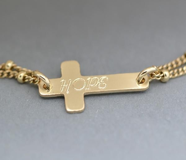 Personalized Cross Bracelet Engraved Silver Or Gold