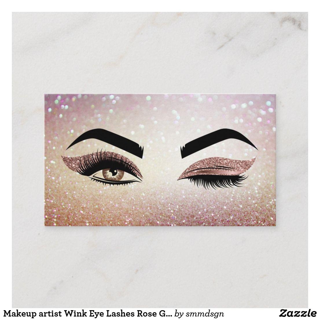 Makeup Artist Wink Eye Lashes Rose Gold Business Card Zazzle Com