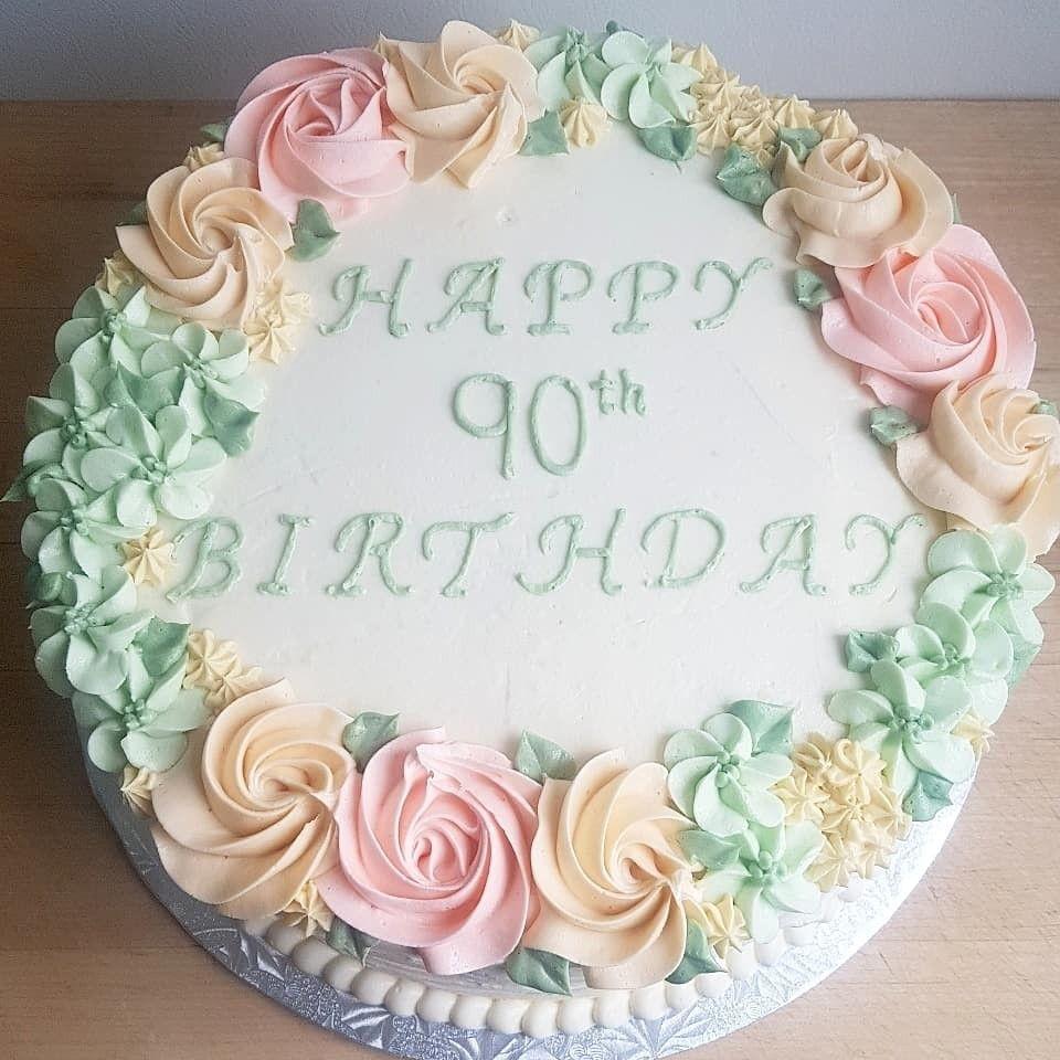Wondrous Floral Birthday Cake 90Th Birthday Buttercream 90Th Birthday Funny Birthday Cards Online Chimdamsfinfo
