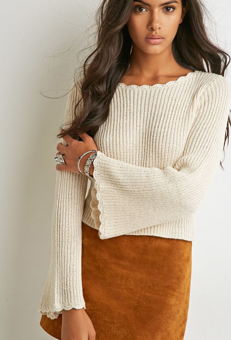 Bell-Sleeved Slouchy Sweater - RETRO REVIVAL - 2000173781 ...