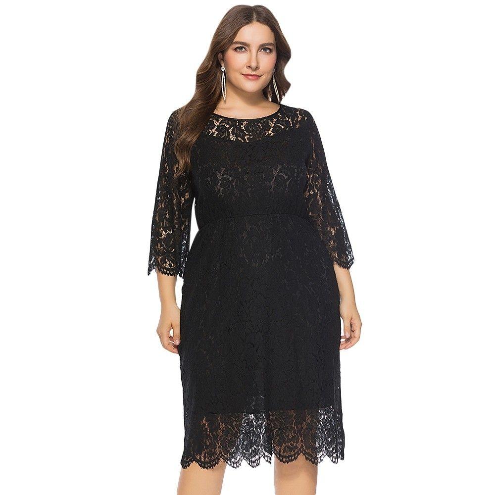 Round Collar 3 4 Sleeve Lace Crochet See Through Plus Size Women Dress Black 3884878512 Size Xl Womens Dresses Pattern Dress Women Plus Size Women [ 1000 x 1000 Pixel ]