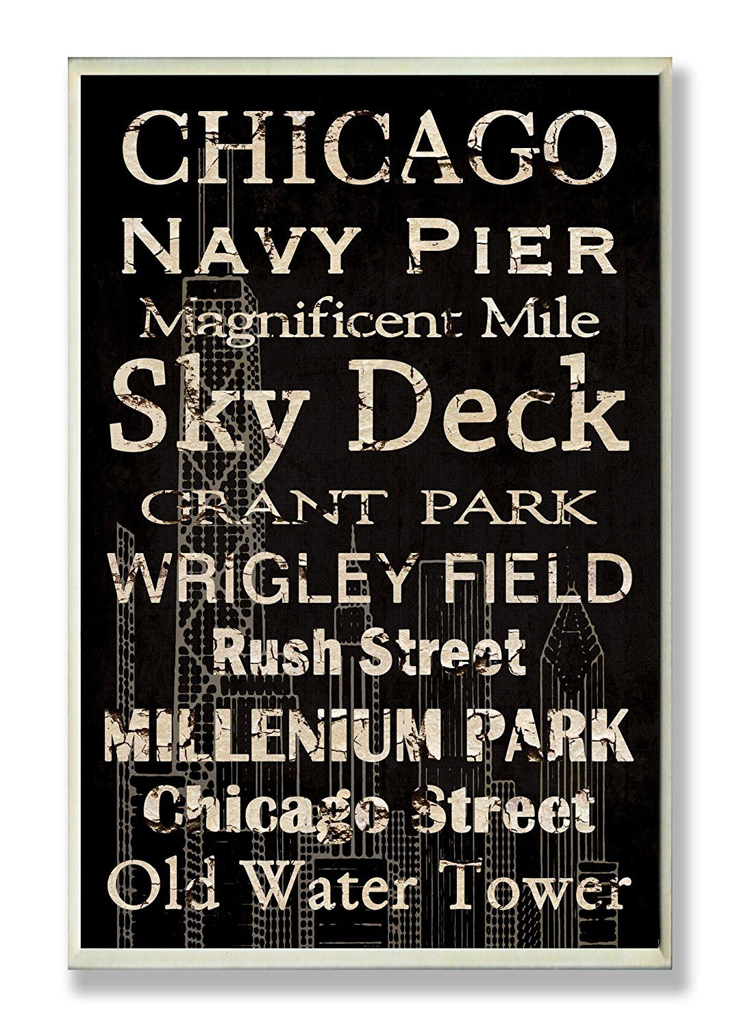 The Stupell Home Decor Collection Chicago Landmark Typography Rectangle Wall  Plaque U003eu003eu003e Insideru0027s Special