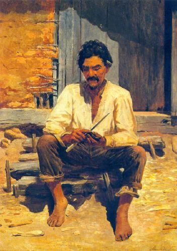 Caipira picando fumo (1893). Almeida Júnior (1850 - 1899). óleo sobre tela (202 X 141). Pinacoteca do Estado de São Paulo, Brasil.