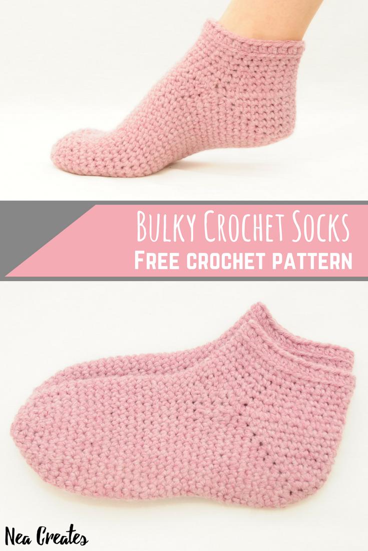 Bulky Crochet Socks: Free Crochet Pattern | Crochet socks, Free ...