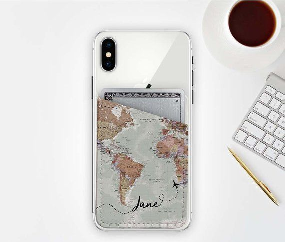 quality design 0137b 5f813 Personalized Map Card Holder for Phone, Vegan Leather, Wallet, Cell ...