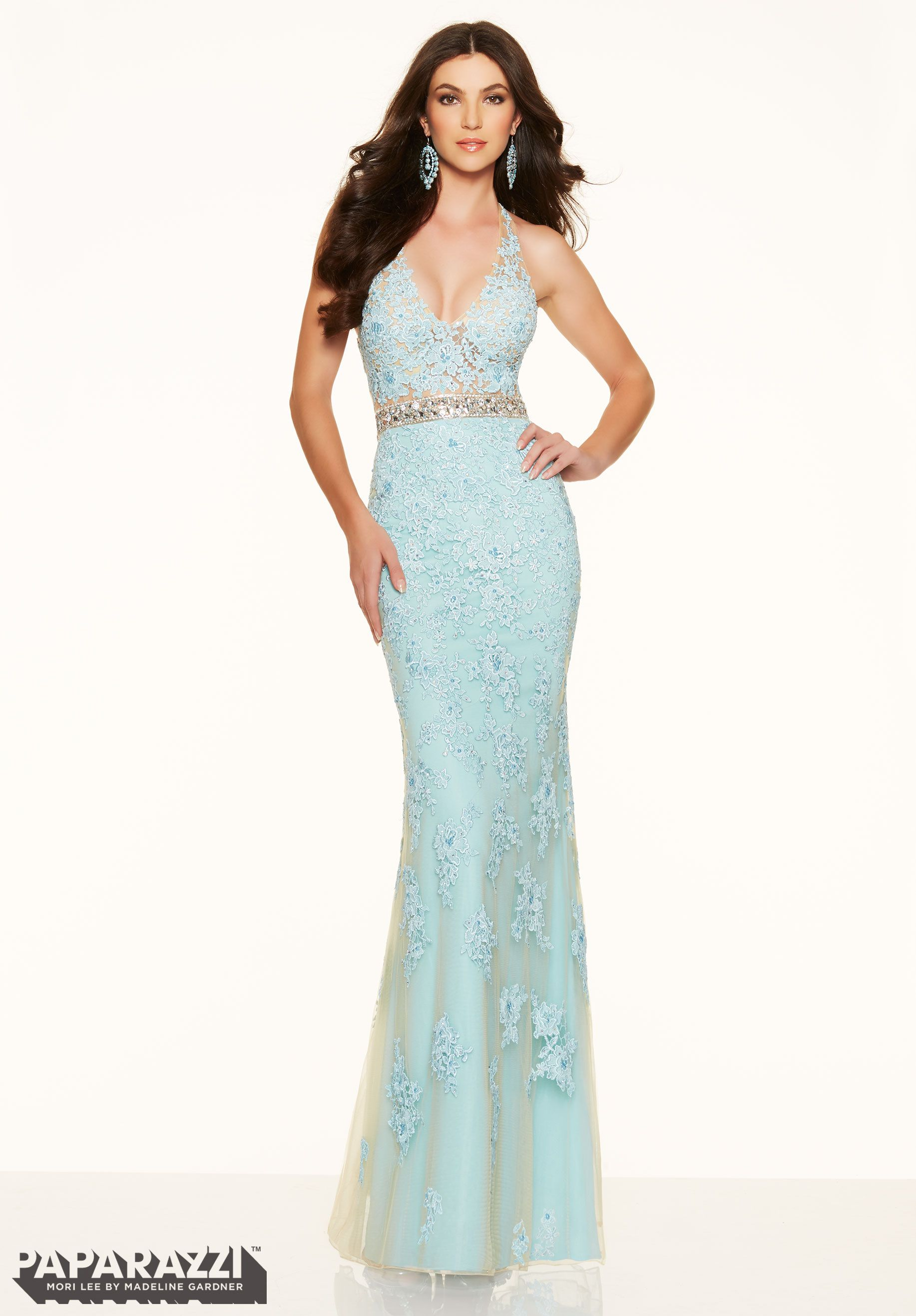 Prom dresses by paparazzi prom lace on net with jeweled beading
