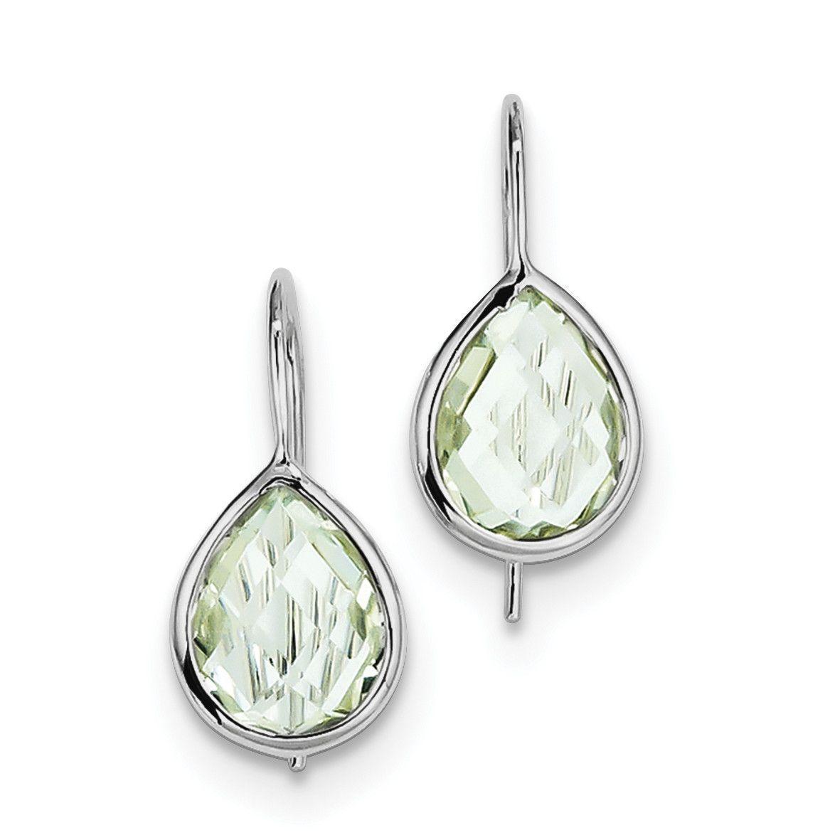 Sterling Silver Rhodium Plated Green Quartz Teardrop Earrings