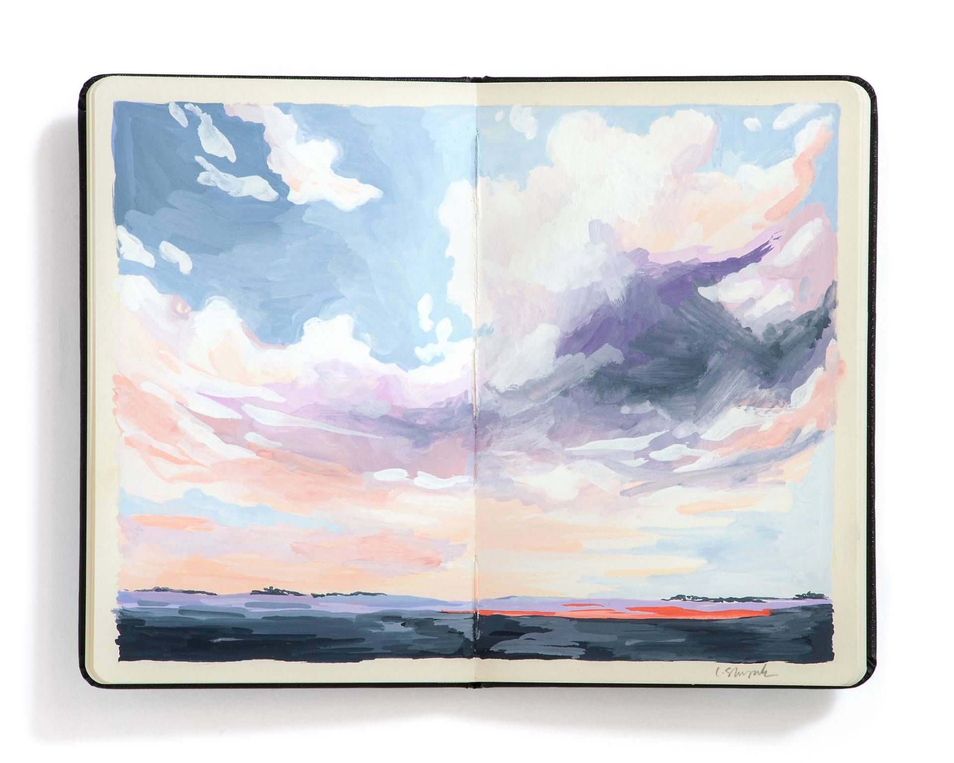 Buy Prints of Prairie Sky No. 20, a Gouache on Paper by Carrie Shryock from United States. It portrays: Landscape, relevant to: painting, prairie, illlustration, sketchbook, sky, blue, violet, clouds, coral, gouache, landscape Big prairie skies and wide open spaces. One in a series of landscape paintings from my sketchbook.