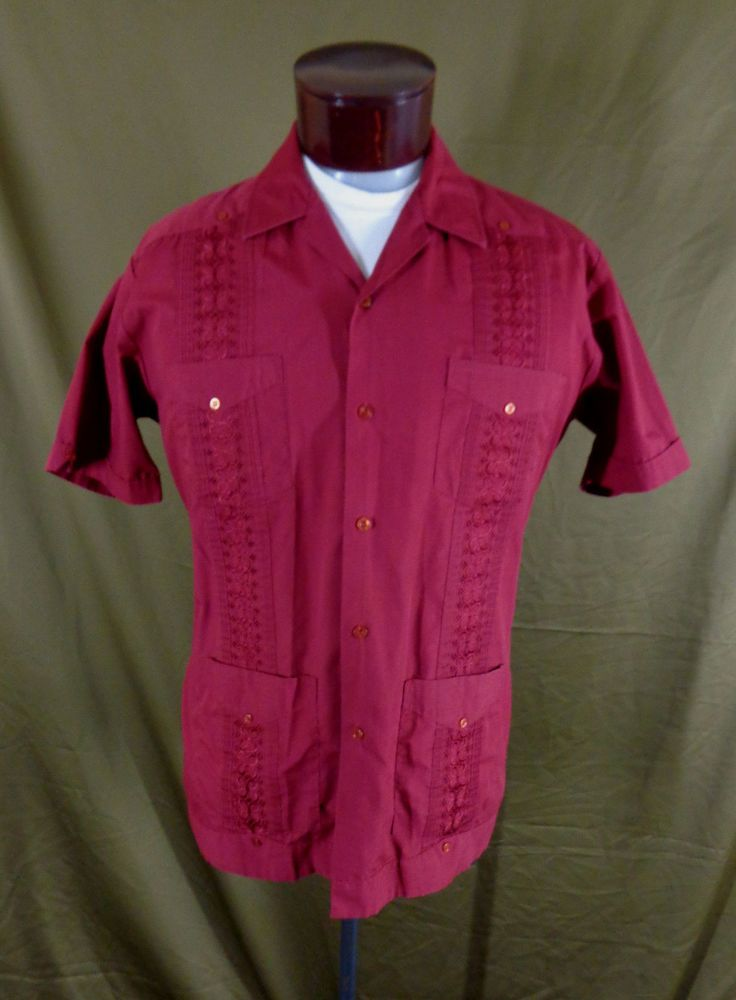 3a913ffe Vintage Men's Burgundy Embroidered Rockabilly Cuban Cigar Lounge Shirt–L-VLV  #Romani #ButtonFront #Doyoureallyneedone