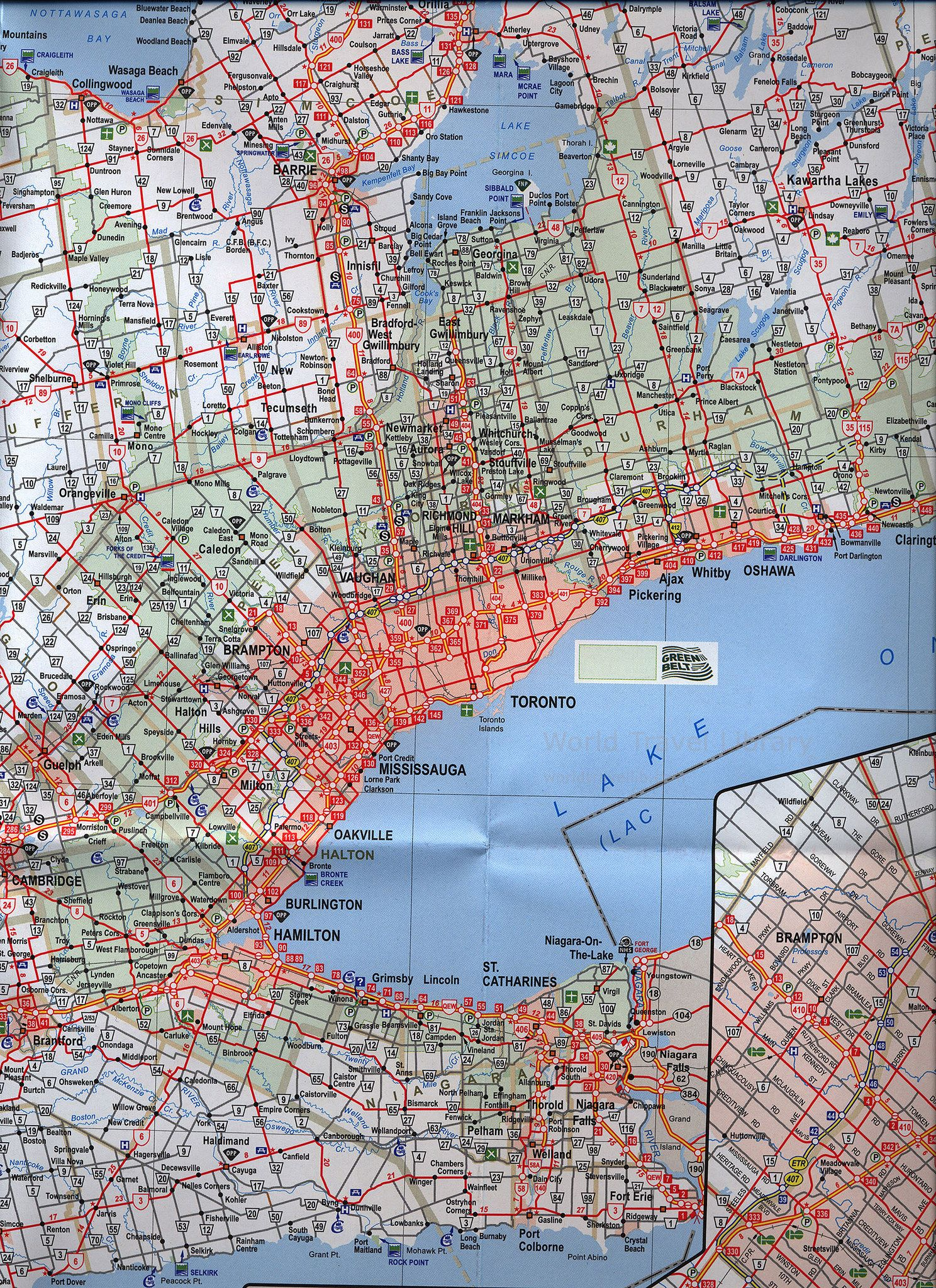 Ontario Canada Official Road Map Carte Routiere 20162017 detail