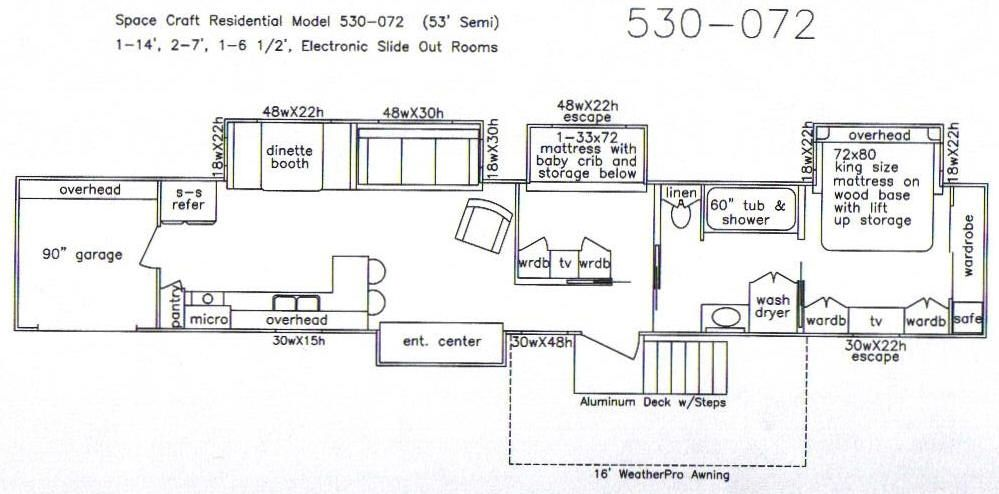 Floor Plan With Slide Outs For 53 39 Semi Trailer Tiny