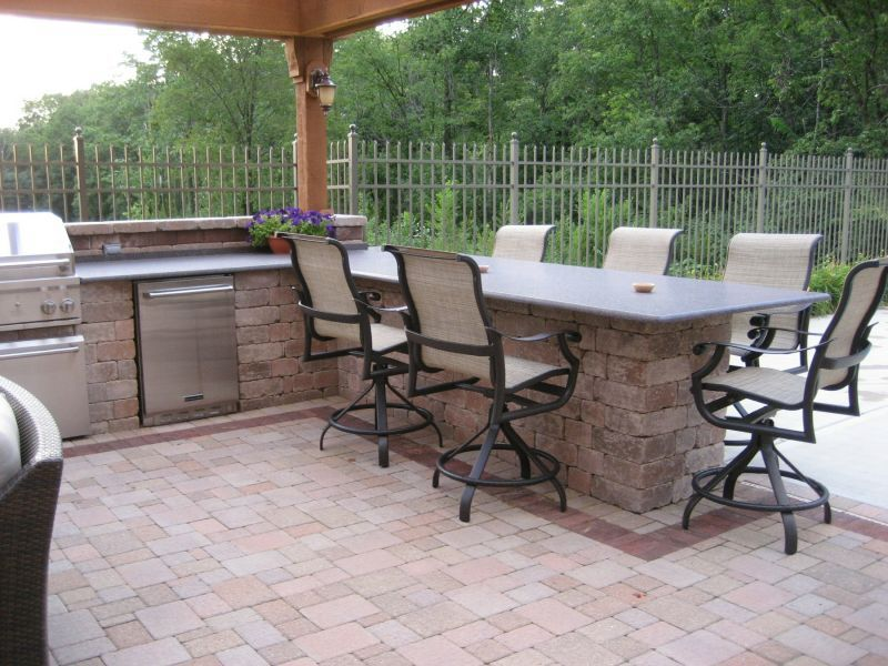 Outdoor Kitchen, Pergola U0026 Paver Patio: The Granite Bar With Six Bar Stools  And