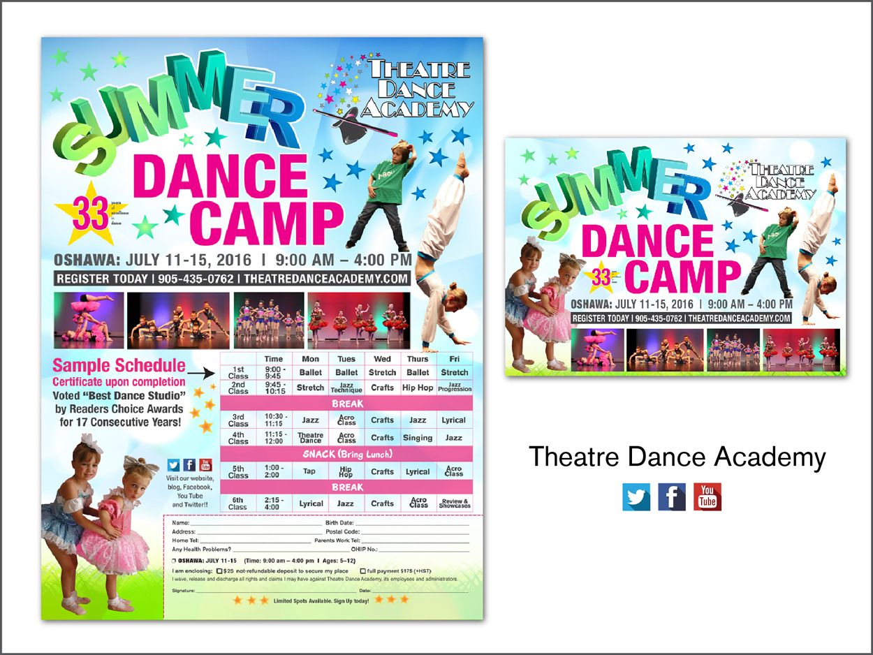 Theatre Dance Academy Summer Dance Camp Flyer And Post Card