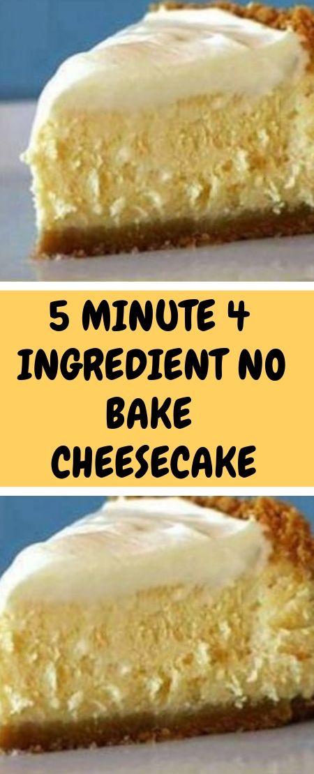 5 Minute 4 Ingredient No Bake Cheesecake Easy Cheesecake Recipes Cream Cheese Recipes Dessert Condensed Milk Recipes