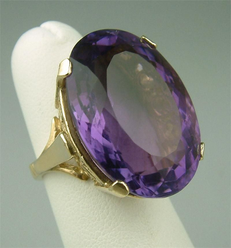 Vintage Cocktail Ring Vintage Solitaire Ring Vintage Rhodium Plated Amethyst Stone Ring