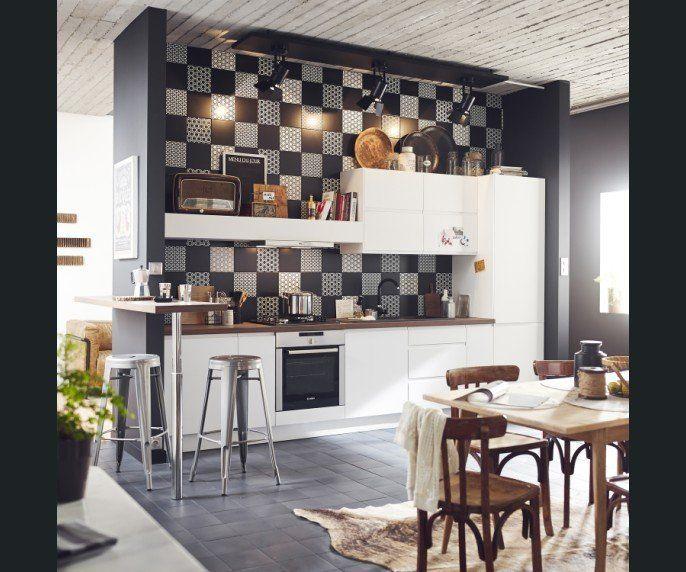 Cuisine Bois Noir et blanc cuisine Pinterest Cuisine