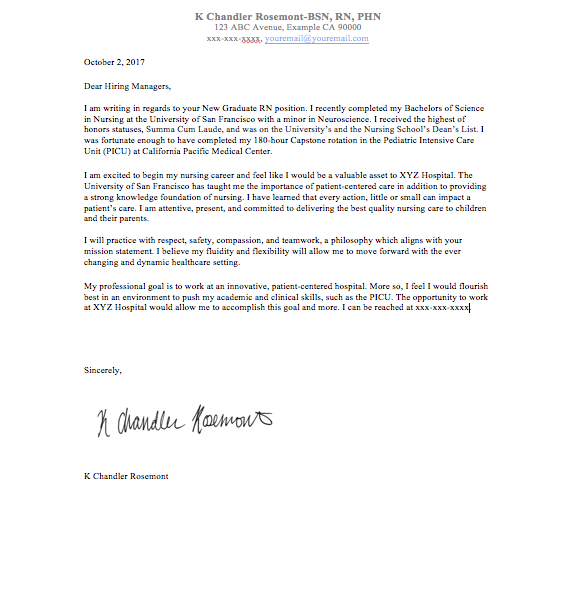Nursing cover letter. How to write one, how to make it ...