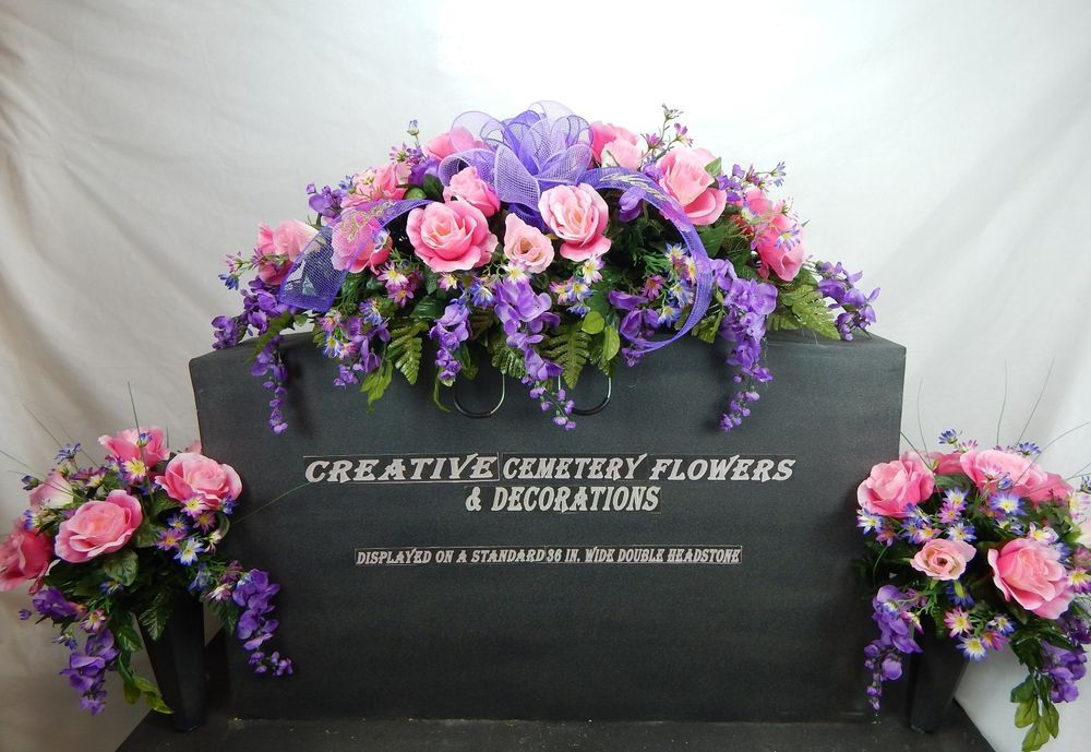 Details About Double Cemetery Flower Headstone Saddle Matching Vase Bushes Funeral